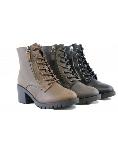 Women Combat Ankle Boots  Mid Block Heel Lace Up Cool Design