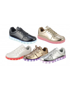 Women Low Top Light Up LED Shiny Sneakers Lace Up Design Rechargeable