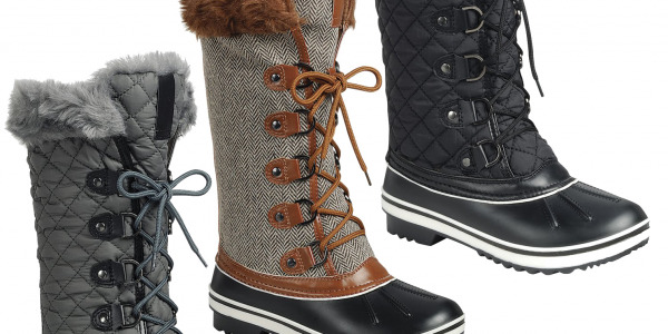 Women Low Knee High Warm Snow Duck Boots Fur Trim Cuff