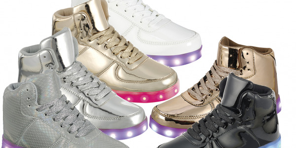Women LED Ankle High Top Sneakers Fashion Night Street Dancing Shoes