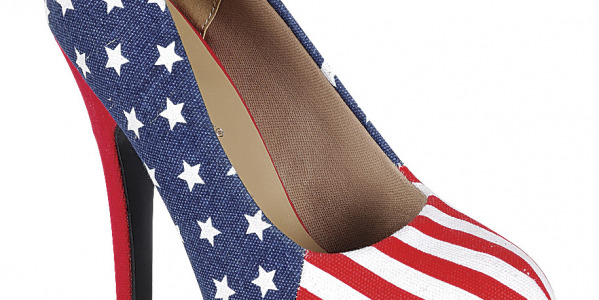 Women Designer High Heels With USA Flag 6 Inch Pump Shoes
