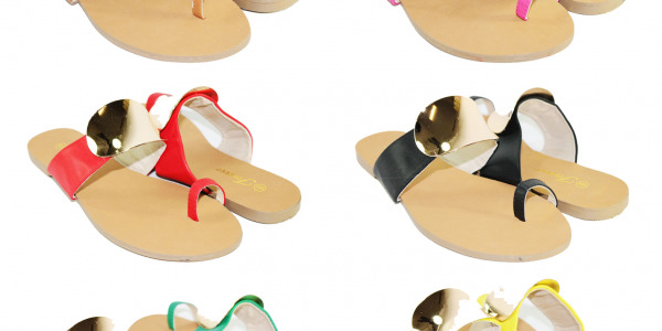 Women Fashion Toe Ring Single Strap Sandals With Golden Shiny Plate
