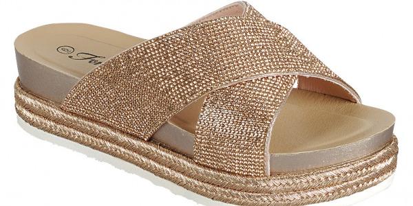 Women Glitter Rhinestone Large Cross Strap Design Wedge Slides Sandals