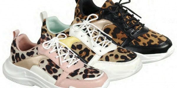 Women Fashion Low Top Sneakers With Leopard Pattern Lace Up Shoes
