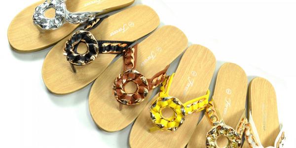 Women Dressy Flip Flops Flower Golden Chain Detail Comfortable Footbed