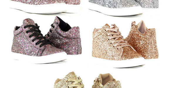 Women Fashion High Top Shiny Glitter Sneakers Lace Up Shoes