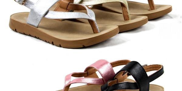 Women Comfortable Flip Flops Sandals Glitter Upper Shoes T-Strap Style