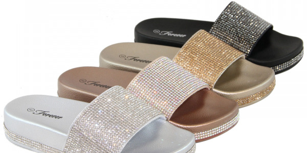 Women Glitter Rhinestone Design Platform Slides Sandals Shiny Shoes