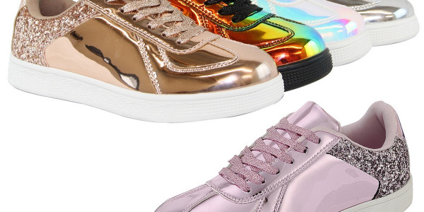 Women Fashion Metallic Holographic Glitter Sneakers Lace Up Shoes