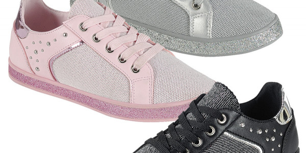 Women Fashion Sneakers Lace Up Two Tone Material Studs Glitter Shoes