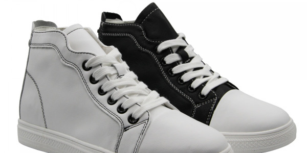 Women Genuine Leather Quality High Top Sneakers Lace Up Shoes Stretch Heels Counter