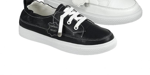 Women Genuine Leather Quality Low Top Sneakers Lace Up Shoes Snap Heel Counter