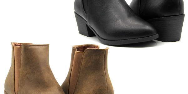 Women Ankle Faux Leather Chelsea Boots Stylish Design Mid Heels Booties