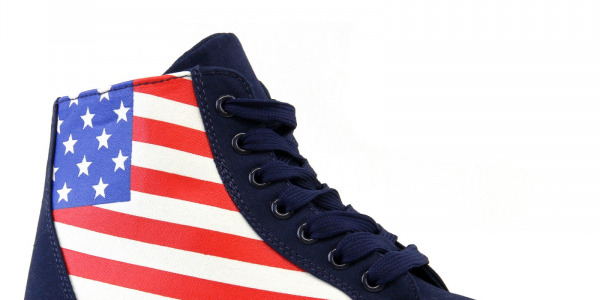 Women High Top Blue Navy Denim US Flag Lace UP Sneakers Shoes